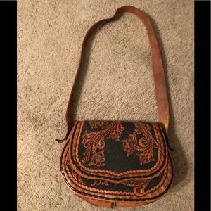 Black and Brown Genuine Leather Cross Body Purse